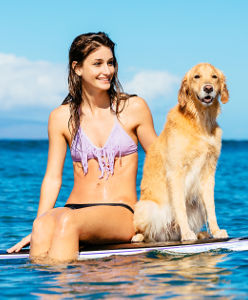 Chien et jeune femme sur une planche de surf