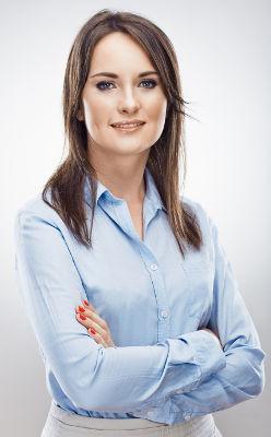 Femme maquillée pour un entretien